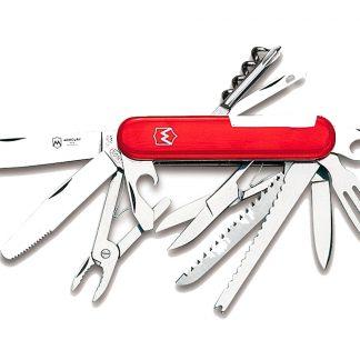 Džepni nožić 913: 13 alata:nož, otvarač za boce s ravnim odvijačem, vadičep, otvarač za limenke, šilo, vilica, škare, pilica, nož za skidanje udica i čiščenje ljuski ribe, nož s nazubljenom oštricom, križni odvijač, mali nož i kliješta