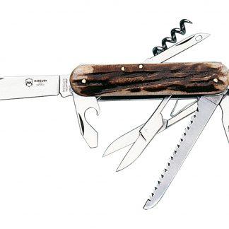 Džepni nožić 913 - Jelenji rog, 8 alata: nož, otvarač za boce s ravnim odvijačem, vadičep, otvarač za limenke, šilo, vilica, škare i pilica